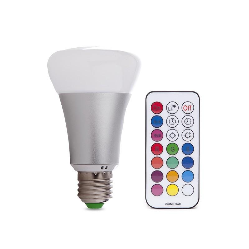 Die Glühbirne LED RGB + Ww E27 10W Fernbedienung